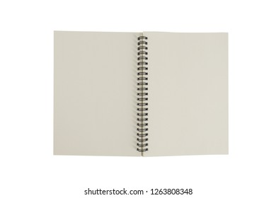 Top view collection of spiral kraft notebook isolated on background