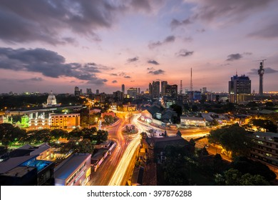 Top view of Colombo city at sunset in Sri lanka