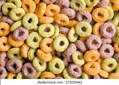 top view of colorful cereal rings