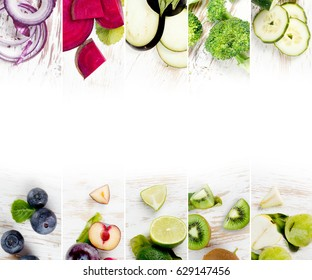 Top view of colorful mix stripes with fruits and vegetables; healthy eating concept; white space for text