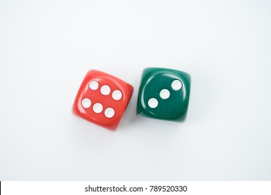Top view of Colorful Rolling the dice concept for business risk, chance, good luck or gambling.white background.