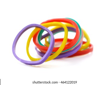 Top view of colorful rubber bands isolated on white, Elastic bands on a white