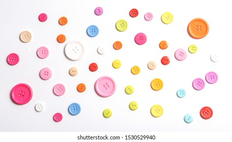 Top view Colorful Shirt Button Closeup isolated on White Background