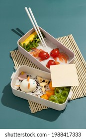 top view composition food japanese bento box