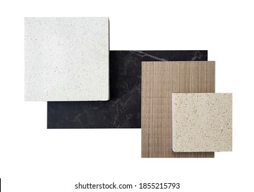 top view ,composition of interior finishing material including white and beige grained quartz stone ,ash wood veneer ,black cosmos  quartzite stone samples isolated on white background. - Shutterstock ID 1855215793