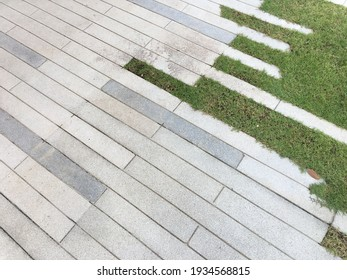 top view of concrete tile and grass