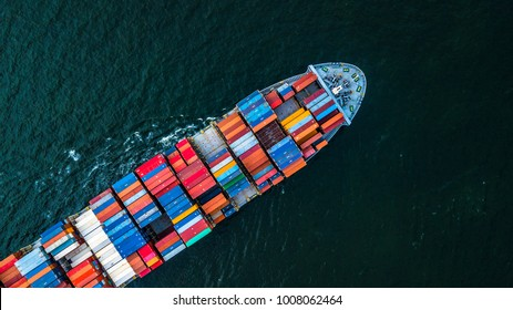 Top view container cargo ship in import export and business logistic, Logistic and transportation of International ship.