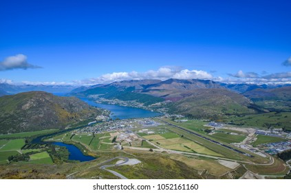 Top view of  at Coronet peak on summer day with nice sky, beautiful scenic view and green mountains. So, it feel relaxing on vacation time. Moreover, this airport consists of two runways.