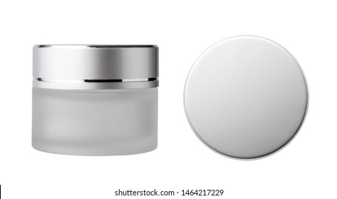 Top view of cosmetic jar and cosmetic glass jar, Isolated on white background. Skin care bottles for gel, lotion, cream.