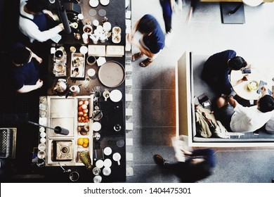 Top view of counter in a Coffee shop in Bangkok.