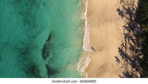 Top View of a Couple Shadow in Paradise Beach, Bahamas