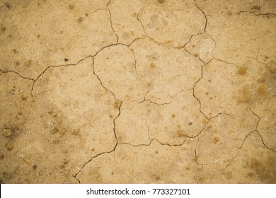 top view cracked  red soil ground Earth for texture background,desert cracks,Dry Orange surface Arid,drought land,Picture of natural disaster. drought land Caused by global warming and deforestation.
