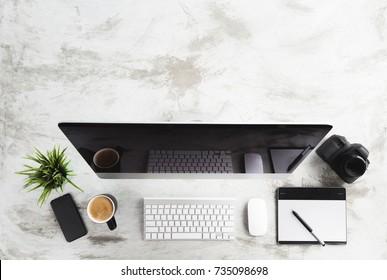 top view of creative desk