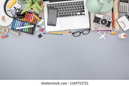 Top view creative home office desk header