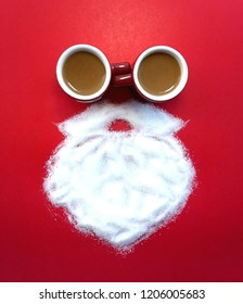 Top view of creative Santa Claus made of coffee cup Sugar white beard on red background for Merry Christmas theme New Year celebrate Seasons Greetings decoration image design symbolic on Happy holiday