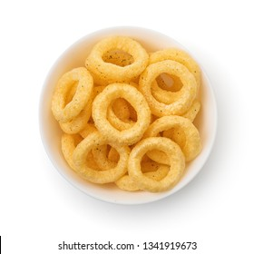 Top view  of crispy onion rings bowl isolated on white