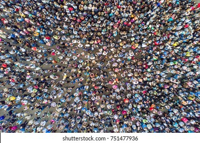 Top view of the crowd of people at the Holly Colors Festival