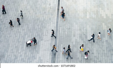 Top view crowd of people walk on business street pedestrian in city