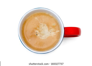 Top view of a cup of coffee, isolate on white, blue red mug