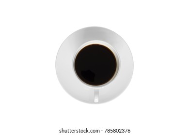 Top view of cup of espresso isolated on white background with clipping path