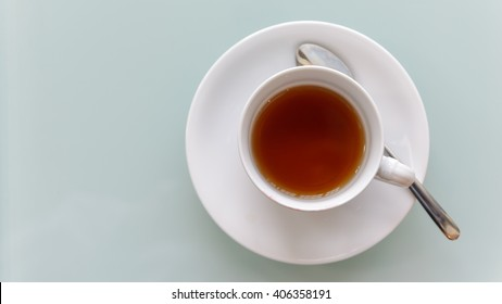 Top view of a cup of hot tea with copy space