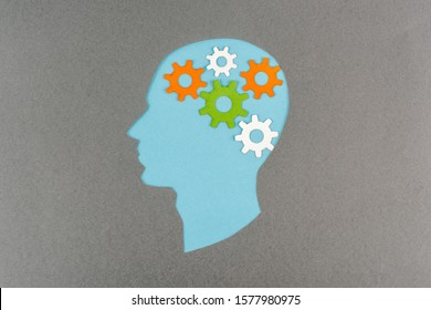 top view of cut out blue human head with colorful gears isolated on grey