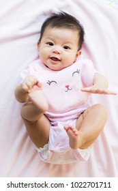 Top view cute asian baby