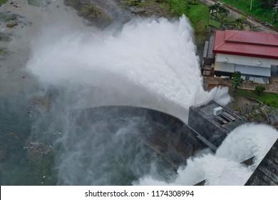 Top view of Dam and spillways (Khun Dan Prakan Chon Dam), NAKHONNAYOK, THAILAND
