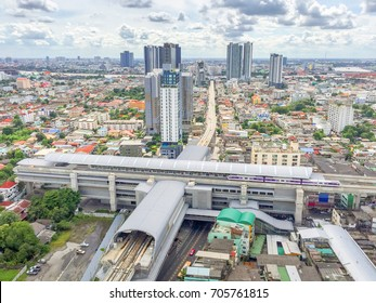 Top view the day Tao -Poon station of Bangkok district bang sue. Sky train new  intersection of blue line red line and purple line of MRT.