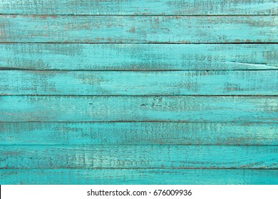 Top View Of Decorative Rustic Turquoise Wooden Background With Horizontal Planks