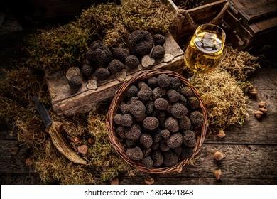 Top view of delicacy mushroom black truffle, still life