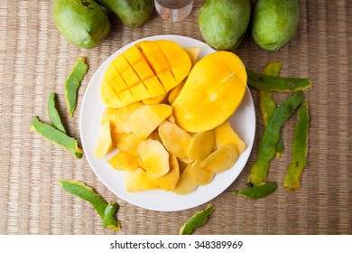 Top view Delicious Yellow Manggo Fruit sliced on white plate