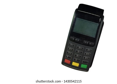Top view Di cut old black Credit card machine on white background,object background,technology background, copy space