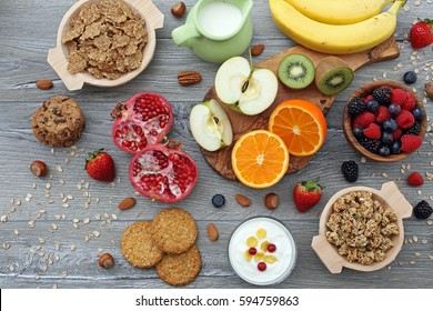 top view dietetic food breakfast on gray background