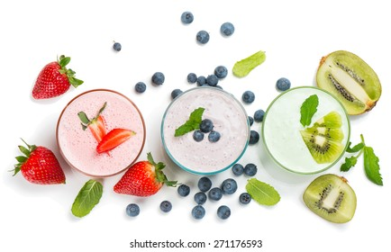 Top view of different smoothies of berry isolated on white background.
