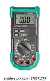 Top view of digital multimeter isolated on white with path