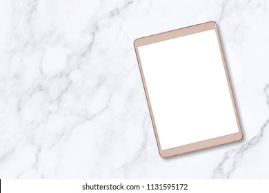 Top view digital tablet on white marble table background.