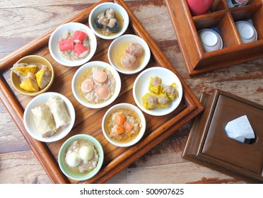 Top view of Dim sum , Chinese food