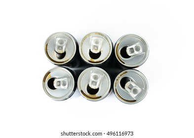 Top view of dirty empty cans isolated on white background