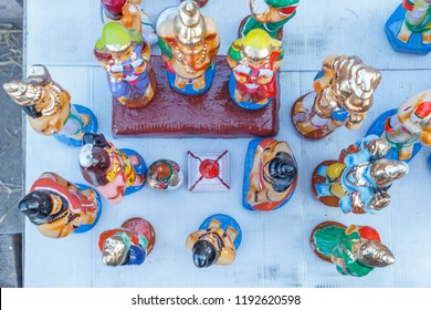 Top view display of dolls and figurines (Bommai Golu in tamil language) is a doll festival celebrated during navaratri in south India, specially in tamilnadu. with selective focus on the subject.