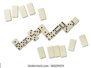 Top view of domino games isolated on white