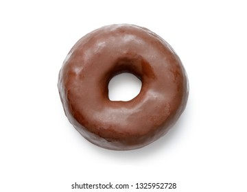 top view of a doughnut with white background