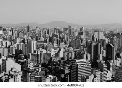 A top view from downtown area of Sao Paulo, Brazil. Black and white city scene.