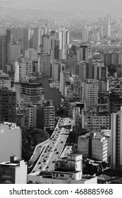 A top view from downtown area of Sao Paulo, Brazil. Black and white city scene