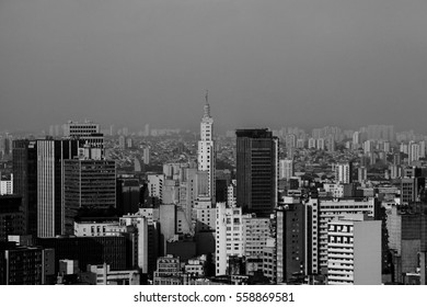 A top view from downtown area of Sao Paulo, Brazil. Black and white scene