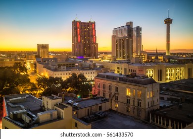 Top view of downtown San Antonio in Texas USA
