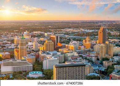 Top view of downtown San Antonio in Texas USA