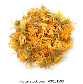 Top view of dried calendula flowers isolated on white