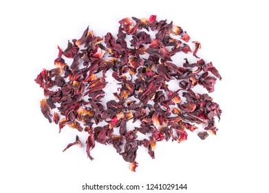 Top view of dried Hibiscus tea flowers isolated on white background