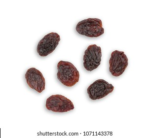 Top view of dried raisins isolated on white background.